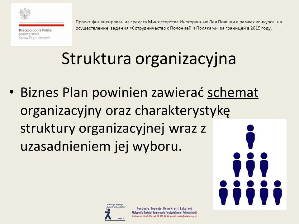 Biznes Plan powinien zawierać schemat organizacyjny oraz charakterystykę struktury organizacyjnej wraz z uzasadnieniem jej wyboru.