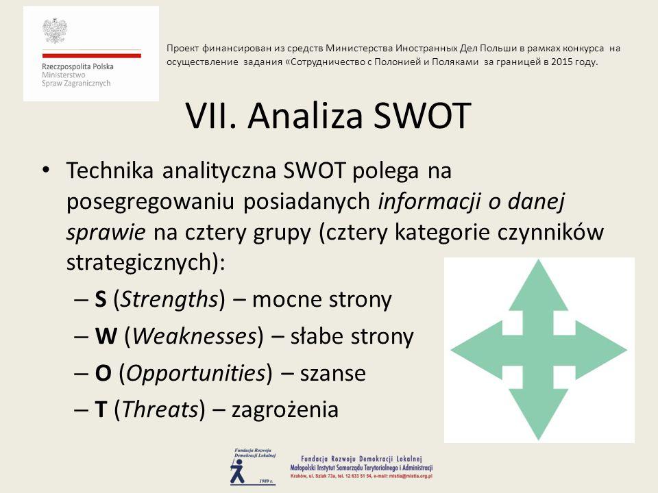 Technika analityczna SWOT polega na posegregowaniu posiadanych informacji o danej sprawie na cztery grupy (cztery kategorie czynników strategicznych): – S (Strengths) – mocne strony – W (Weaknesses) – słabe strony – O (Opportunities) – szanse – T (Threats) – zagrożenia VII.