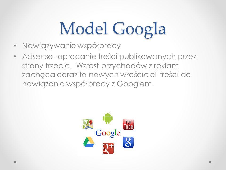 Model Googla Nawiązywanie współpracy Adsense- opłacanie treści publikowanych przez strony trzecie. Wzrost przychodów z reklam zachęca coraz to nowych