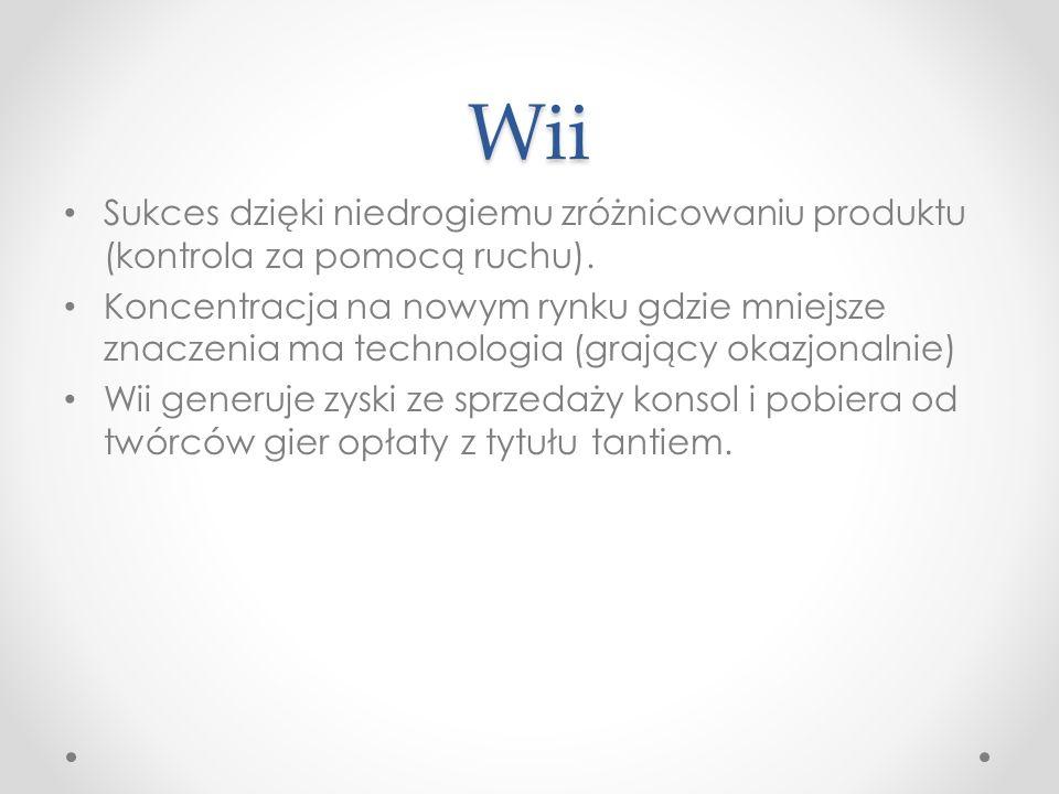 Wii Sukces dzięki niedrogiemu zróżnicowaniu produktu (kontrola za pomocą ruchu). Koncentracja na nowym rynku gdzie mniejsze znaczenia ma technologia (