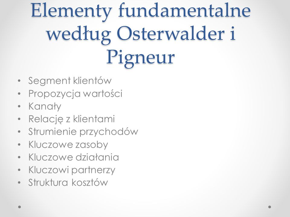 Elementy fundamentalne według Osterwalder i Pigneur Segment klientów Propozycja wartości Kanały Relację z klientami Strumienie przychodów Kluczowe zasoby Kluczowe działania Kluczowi partnerzy Struktura kosztów