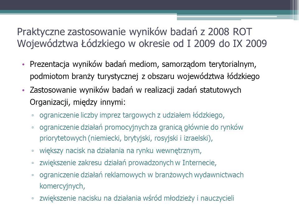 Podstawowe problemy w realizacji badań konsumentów usług turystycznych na terenie Województwa łódzkiego ▫ Niekompletność i niska wiarygodność materiałów komplementarnych na poziomie regionalnym  Trudności z pozyskaniem danych z WUS i GUS  Trudna do zweryfikowania wiarygodność danych z GUS w kontekście źródła pochodzenia informacji ▫ Problemy z odniesieniem zebranych wyników do innych regionów oraz badań krajowych – brak rozwiązań systemowych, brak wskazania modelu prowadzenia badań identycznego dla każdego województwa