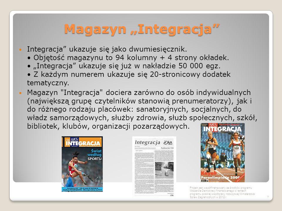 """Magazyn """"Integracja"""" Integracja"""" ukazuje się jako dwumiesięcznik. Objętość magazynu to 94 kolumny + 4 strony okładek. """"Integracja"""" ukazuje się już w n"""