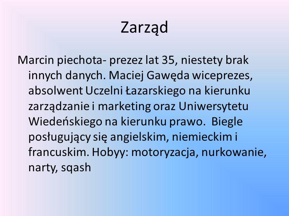 Zarząd Marcin piechota- prezez lat 35, niestety brak innych danych.