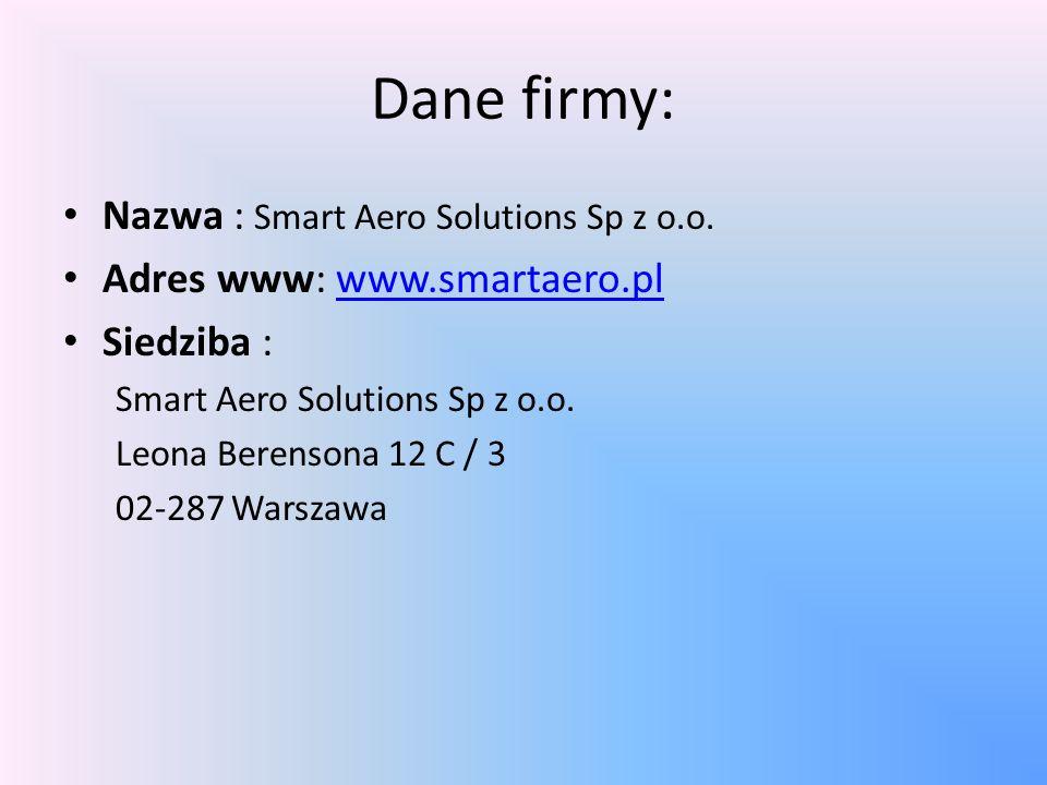 Dane firmy: Nazwa : Smart Aero Solutions Sp z o.o.