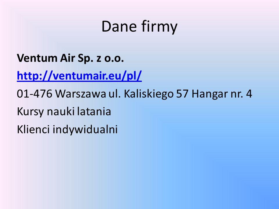 Dane firmy Ventum Air Sp. z o.o. http://ventumair.eu/pl/ 01-476 Warszawa ul.