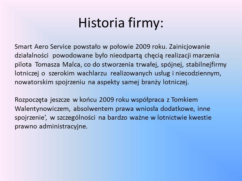 Historia firmy: Smart Aero Service powstało w połowie 2009 roku.
