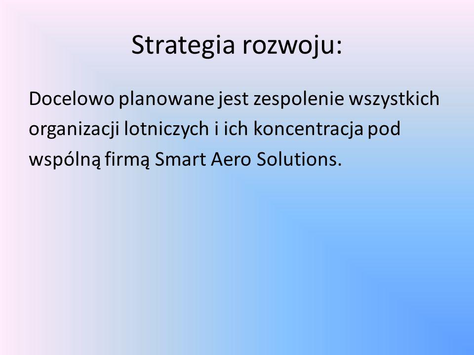 Strategia rozwoju: Docelowo planowane jest zespolenie wszystkich organizacji lotniczych i ich koncentracja pod wspólną firmą Smart Aero Solutions.