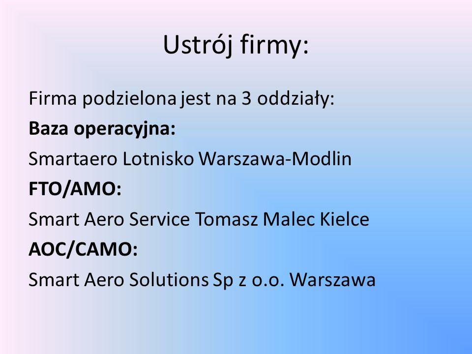 Ustrój firmy: Firma podzielona jest na 3 oddziały: Baza operacyjna: Smartaero Lotnisko Warszawa-Modlin FTO/AMO: Smart Aero Service Tomasz Malec Kielce AOC/CAMO: Smart Aero Solutions Sp z o.o.