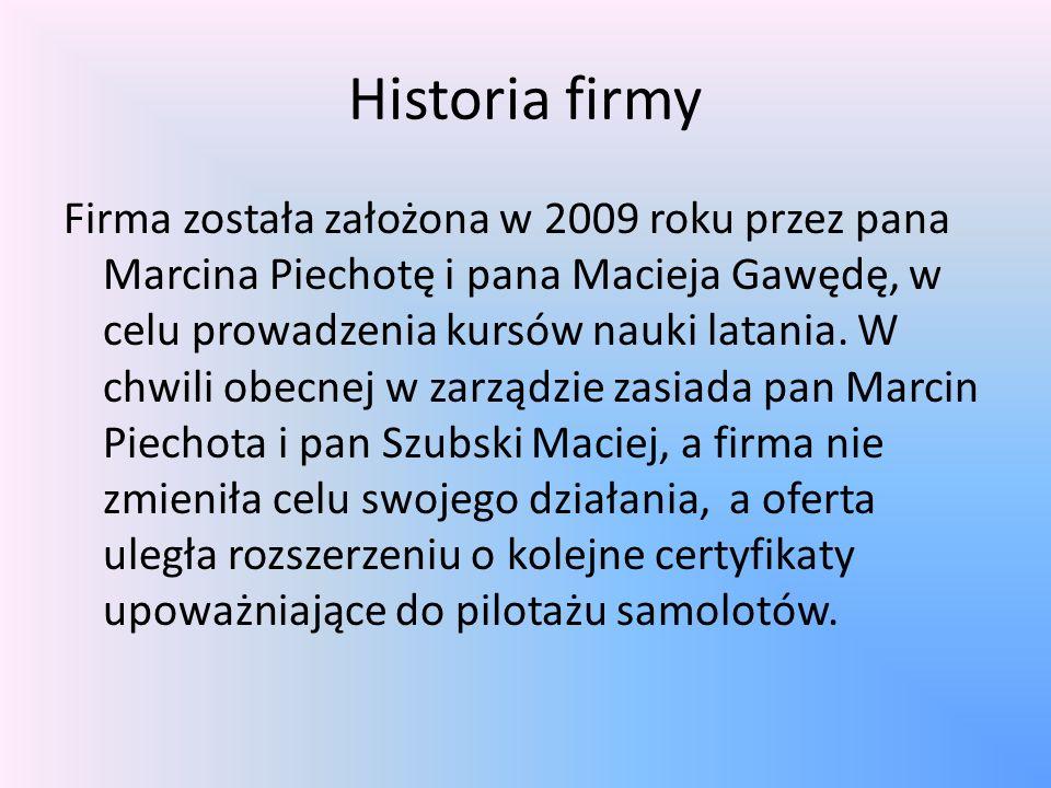 Historia firmy Firma została założona w 2009 roku przez pana Marcina Piechotę i pana Macieja Gawędę, w celu prowadzenia kursów nauki latania.