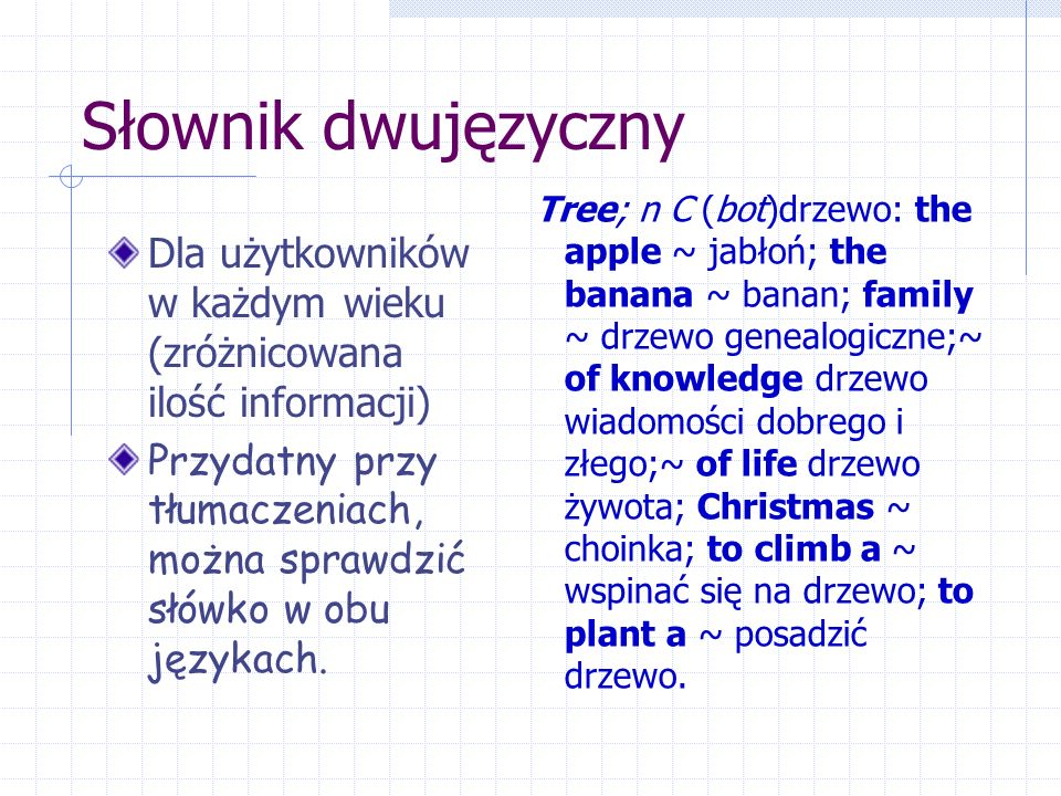 Słownik dwujęzyczny Dla użytkowników w każdym wieku (zróżnicowana ilość informacji) Przydatny przy tłumaczeniach, można sprawdzić słówko w obu językach.
