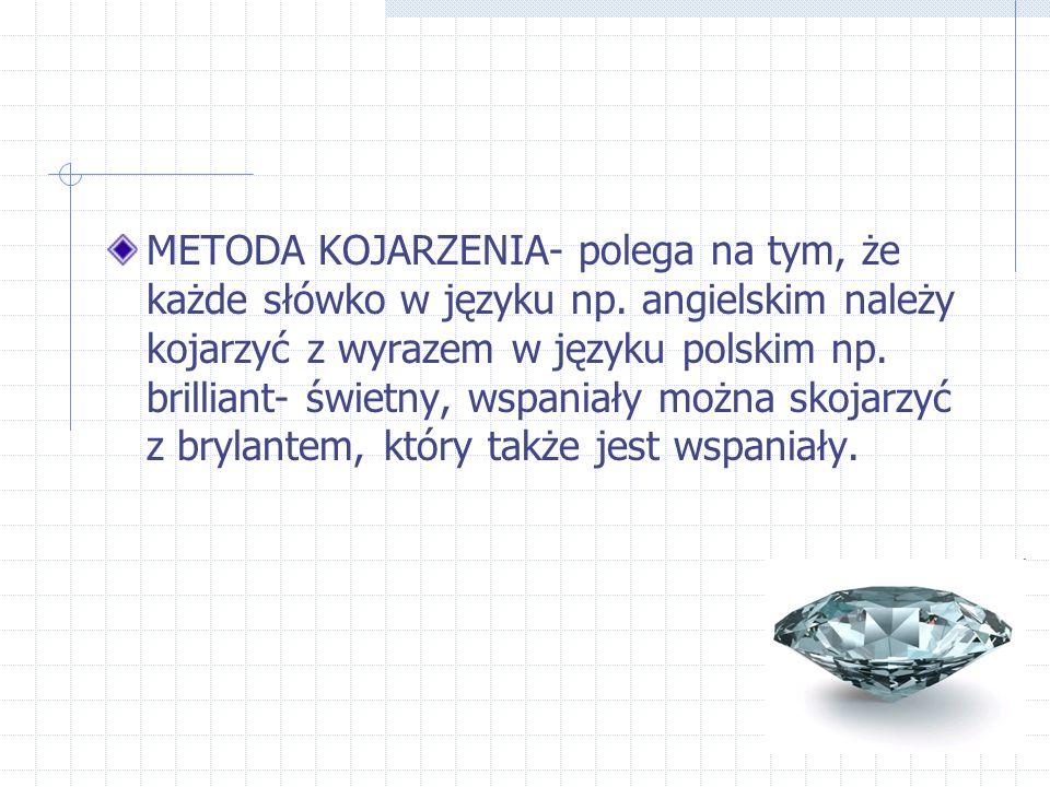 METODA KOJARZENIA- polega na tym, że każde słówko w języku np.