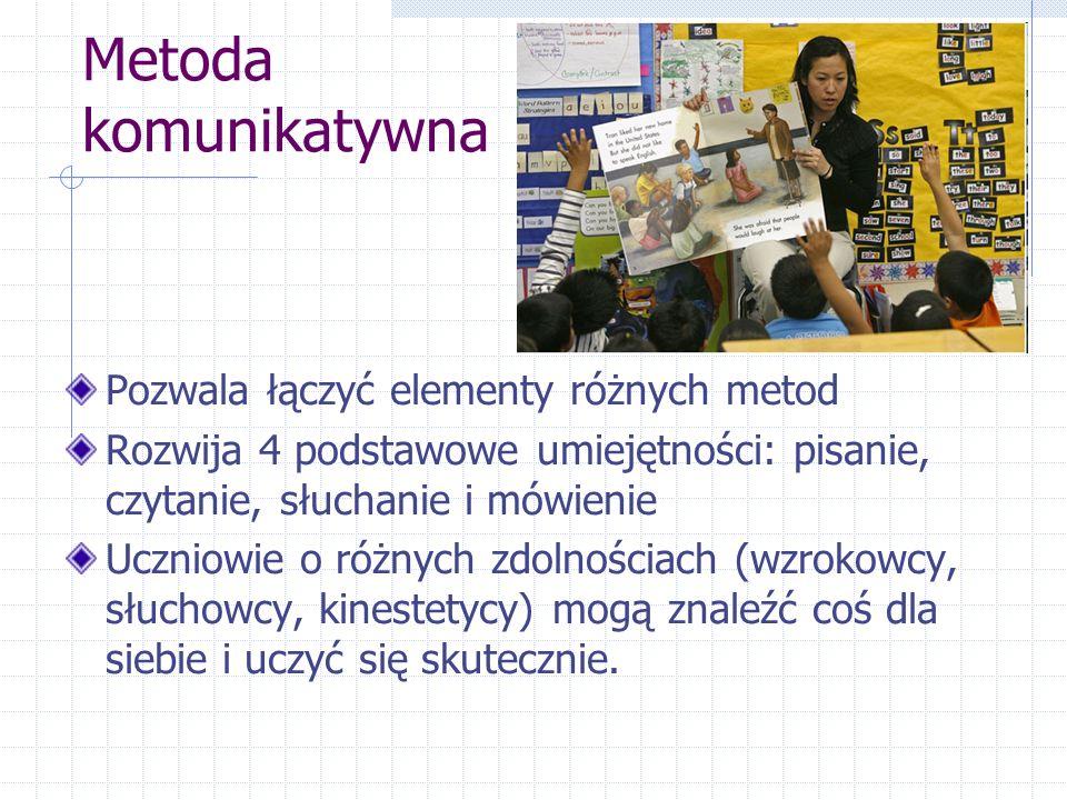Metoda komunikatywna Pozwala łączyć elementy różnych metod Rozwija 4 podstawowe umiejętności: pisanie, czytanie, słuchanie i mówienie Uczniowie o różnych zdolnościach (wzrokowcy, słuchowcy, kinestetycy) mogą znaleźć coś dla siebie i uczyć się skutecznie.