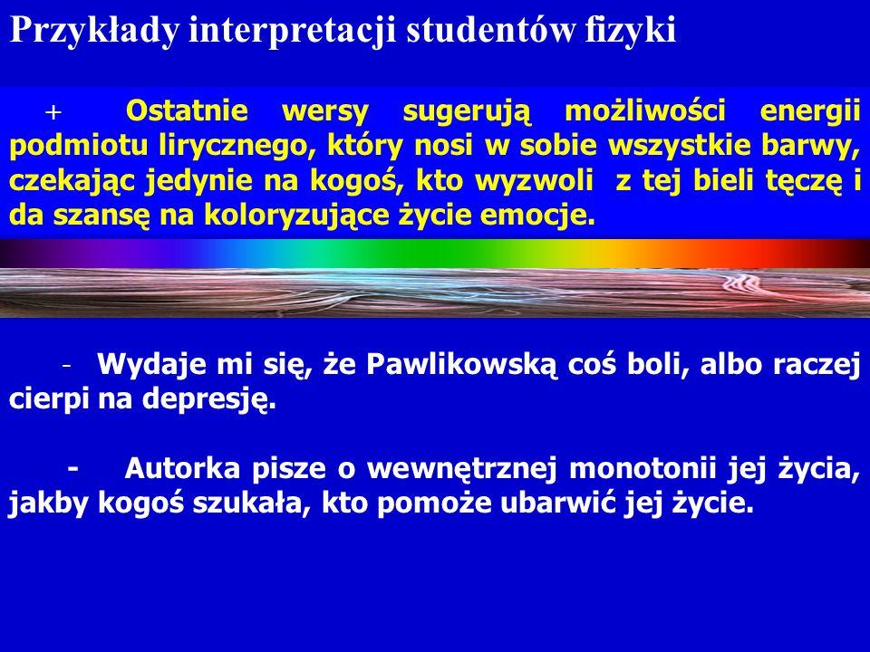 . Związek umiejętności uczniów LO i studentów filologii polskiej z akceptacją fizyki jako przedmiotu szkolnego nauczania w – wiedza wyjaśniająca i – wiedza interpretacyjna