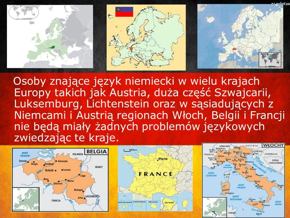 Osoby znające język niemiecki w wielu krajach Europy takich jak Austria, duża część Szwajcarii, Luksemburg, Lichtenstein oraz w sąsiadujących z Niemcami i Austrią regionach Włoch, Belgii i Francji nie będą miały żadnych problemów językowych zwiedzając te kraje.