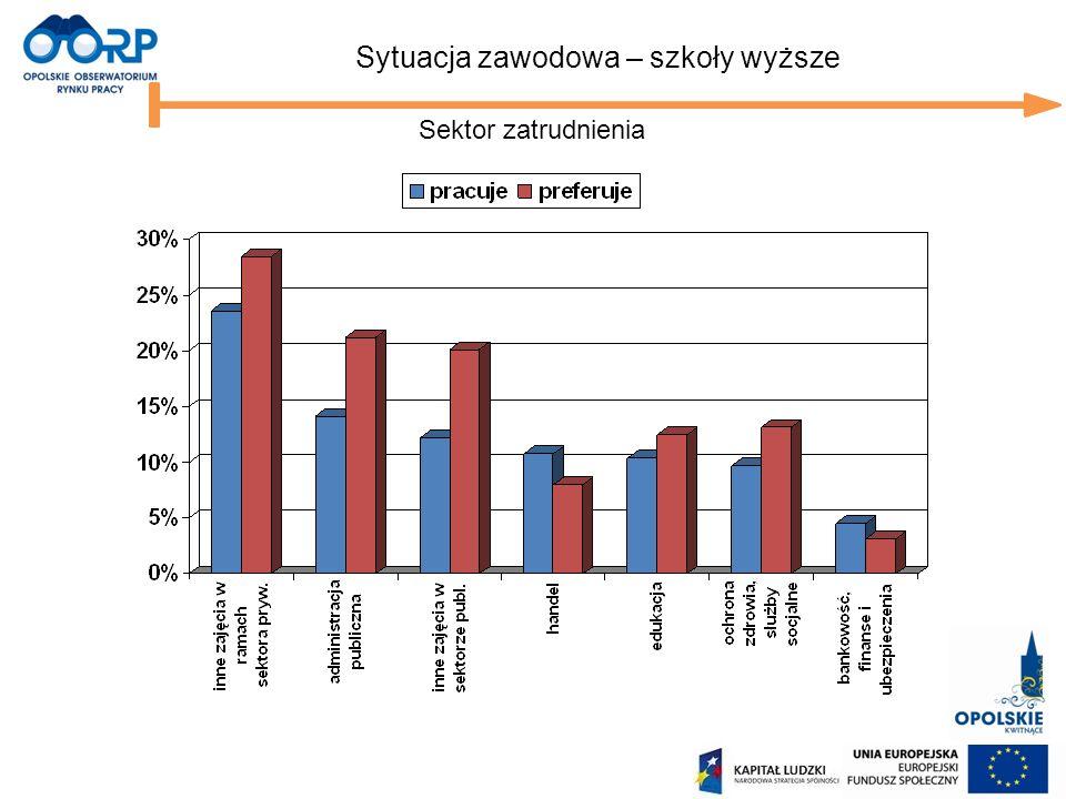 Sektor zatrudnienia Sytuacja zawodowa – szkoły wyższe