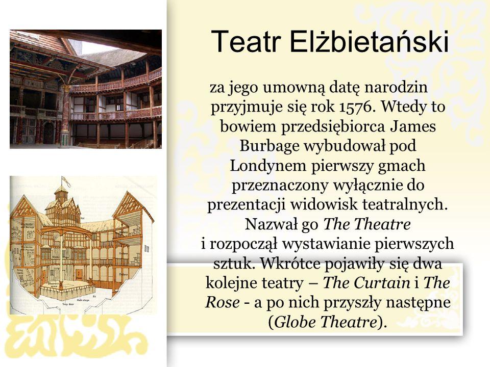 za jego umowną datę narodzin przyjmuje się rok 1576. Wtedy to bowiem przedsiębiorca James Burbage wybudował pod Londynem pierwszy gmach przeznaczony w