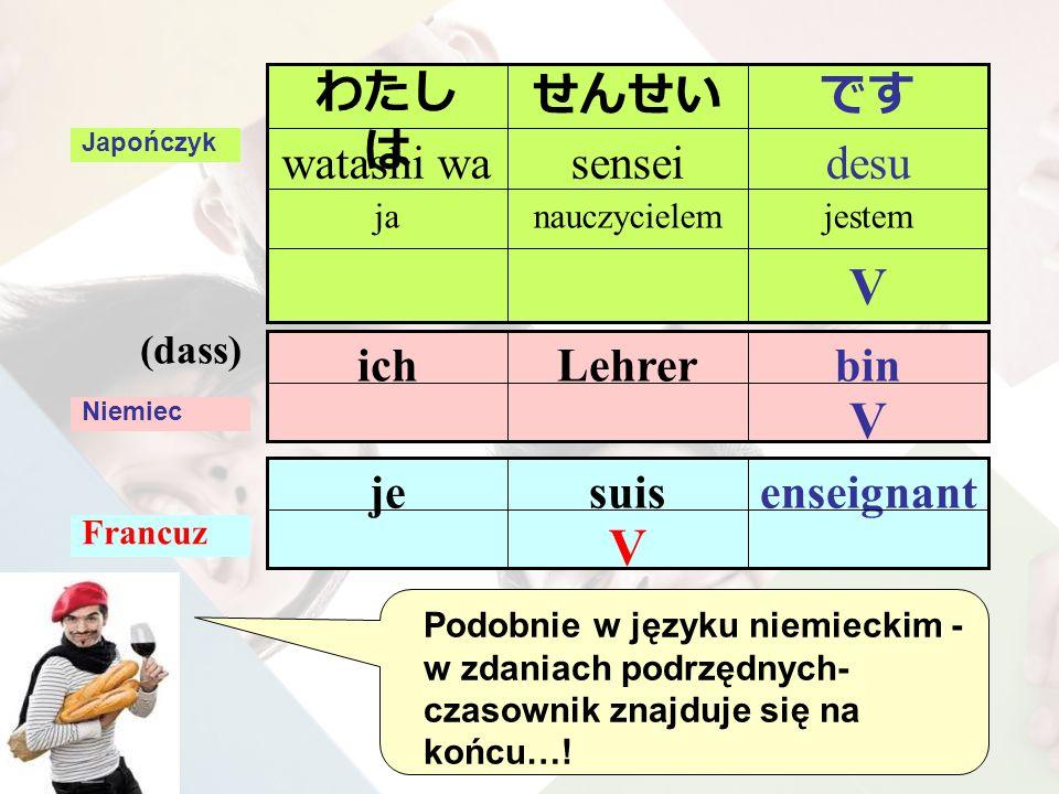 V binLehrerich Niemiec (dass) V enseignantsuisje Francuz Japończyk V jestemnauczycielemja desusenseiwatashi wa ですせんせいわたし は Podobnie w języku niemieckim - w zdaniach podrzędnych- czasownik znajduje się na końcu…!