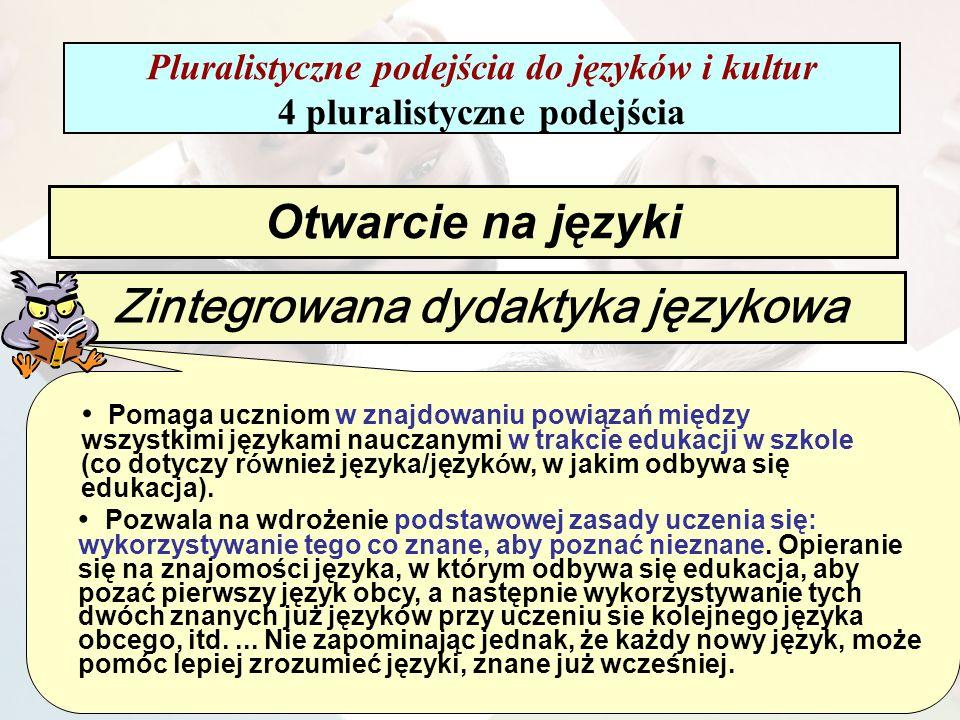Zintegrowana dydaktyka językowa Pomaga uczniom w znajdowaniu powiązań między wszystkimi językami nauczanymi w trakcie edukacji w szkole (co dotyczy r ó wnież języka/język ó w, w jakim odbywa się edukacja).