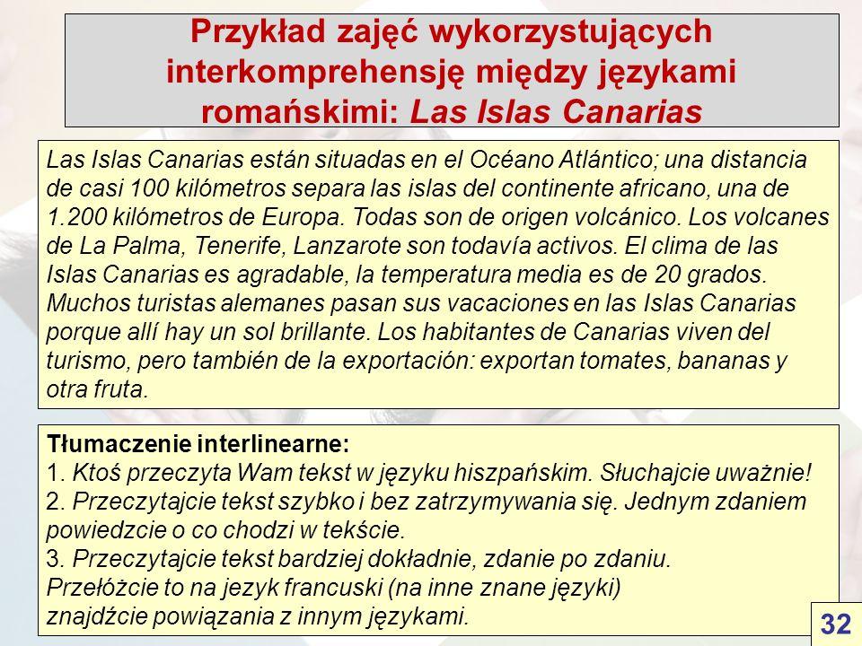 Przykład zajęć wykorzystujących interkomprehensję między językami romańskimi: Las Islas Canarias Las Islas Canarias están situadas en el Océano Atlántico; una distancia de casi 100 kilómetros separa las islas del continente africano, una de 1.200 kilómetros de Europa.