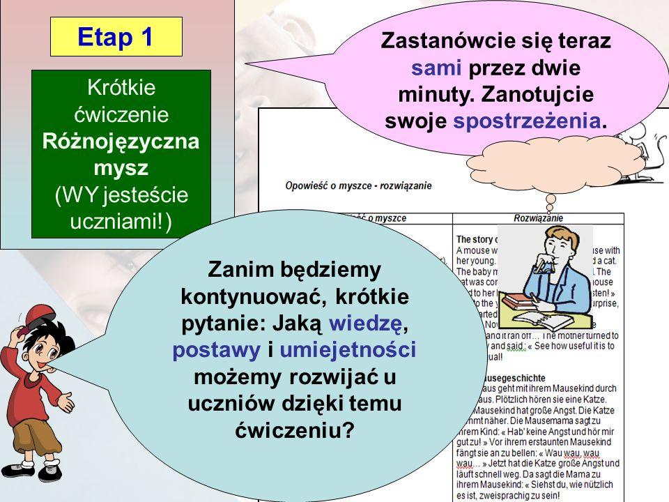 Krótkie ćwiczenie Różnojęzyczna mysz (WY jesteście uczniami!) Etap 1 Zastanówcie się teraz sami przez dwie minuty.