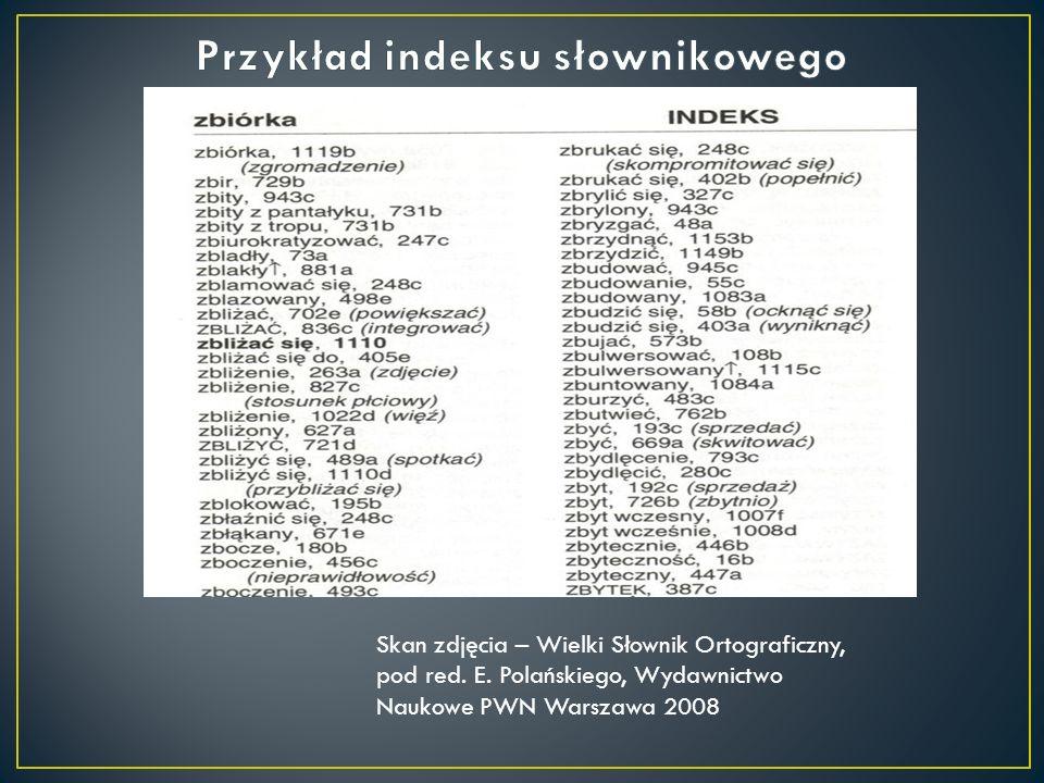 Skan zdjęcia – Wielki Słownik Ortograficzny, pod red. E. Polańskiego, Wydawnictwo Naukowe PWN Warszawa 2008