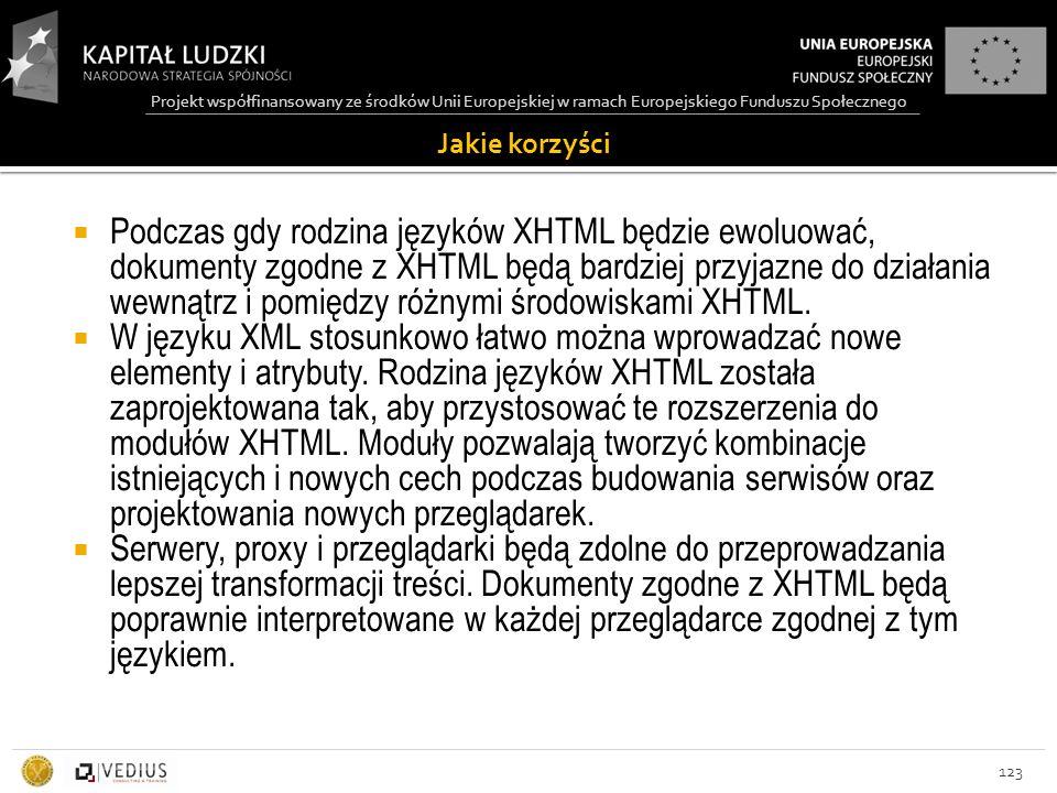Projekt współfinansowany ze środków Unii Europejskiej w ramach Europejskiego Funduszu Społecznego Jakie korzyści 123  Podczas gdy rodzina języków XHTML będzie ewoluować, dokumenty zgodne z XHTML będą bardziej przyjazne do działania wewnątrz i pomiędzy różnymi środowiskami XHTML.
