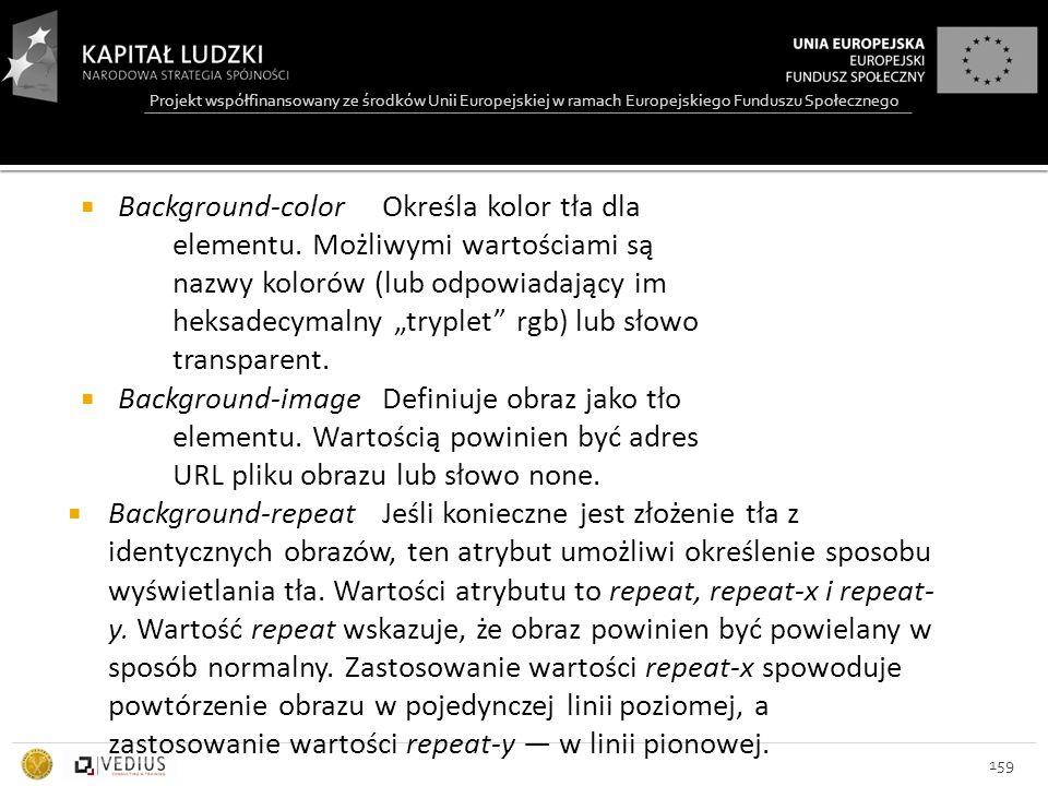 Projekt współfinansowany ze środków Unii Europejskiej w ramach Europejskiego Funduszu Społecznego 159  Background-color Określa kolor tła dla elementu.