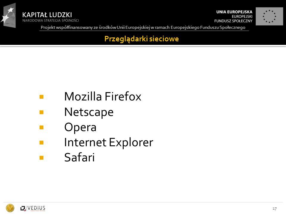 Projekt współfinansowany ze środków Unii Europejskiej w ramach Europejskiego Funduszu Społecznego Przeglądarki sieciowe  Mozilla Firefox  Netscape  Opera  Internet Explorer  Safari 17