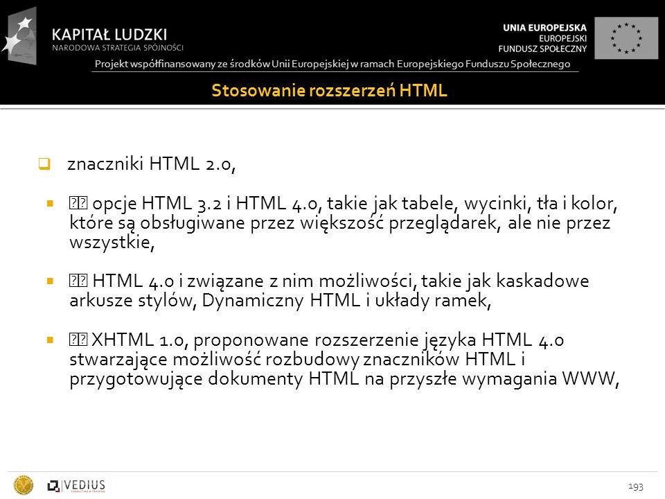 Stosowanie rozszerzeń HTML  znaczniki HTML 2.0,  opcje HTML 3.2 i HTML 4.0, takie jak tabele, wycinki, tła i kolor, które są obsługiwane przez większość przeglądarek, ale nie przez wszystkie,  HTML 4.0 i związane z nim możliwości, takie jak kaskadowe arkusze stylów, Dynamiczny HTML i układy ramek,  XHTML 1.0, proponowane rozszerzenie języka HTML 4.0 stwarzające możliwość rozbudowy znaczników HTML i przygotowujące dokumenty HTML na przyszłe wymagania WWW, 193