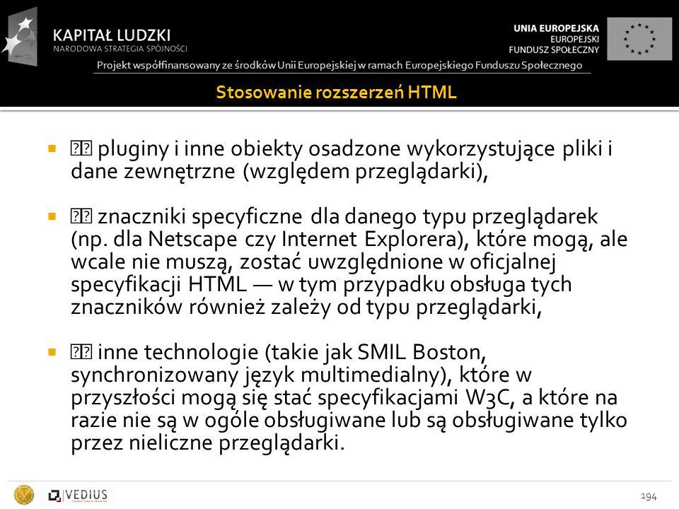Projekt współfinansowany ze środków Unii Europejskiej w ramach Europejskiego Funduszu Społecznego Stosowanie rozszerzeń HTML  pluginy i inne obiekty