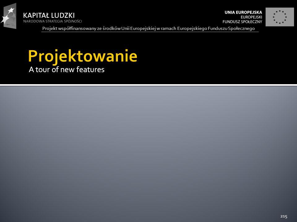 Projekt współfinansowany ze środków Unii Europejskiej w ramach Europejskiego Funduszu Społecznego A tour of new features 215