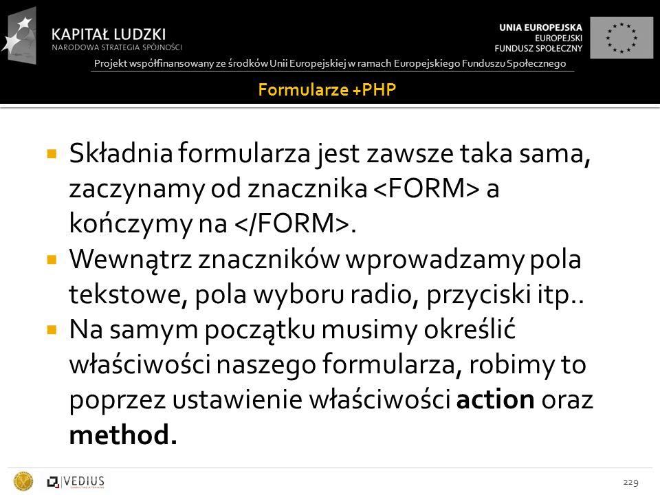 Projekt współfinansowany ze środków Unii Europejskiej w ramach Europejskiego Funduszu Społecznego Formularze +PHP  Składnia formularza jest zawsze taka sama, zaczynamy od znacznika a kończymy na.