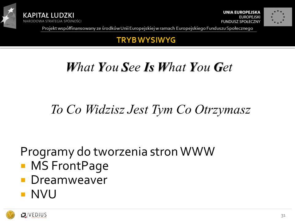 Projekt współfinansowany ze środków Unii Europejskiej w ramach Europejskiego Funduszu Społecznego TRYB WYSIWYG WYS Is WYG What You See Is What You Get To Co Widzisz Jest Tym Co Otrzymasz Programy do tworzenia stron WWW  MS FrontPage  Dreamweaver  NVU 31