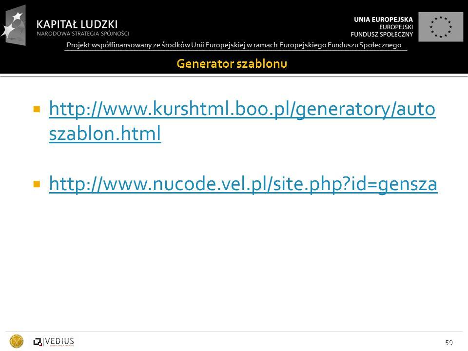 Projekt współfinansowany ze środków Unii Europejskiej w ramach Europejskiego Funduszu Społecznego Generator szablonu  http://www.kurshtml.boo.pl/generatory/auto szablon.html http://www.kurshtml.boo.pl/generatory/auto szablon.html  http://www.nucode.vel.pl/site.php id=gensza http://www.nucode.vel.pl/site.php id=gensza 59
