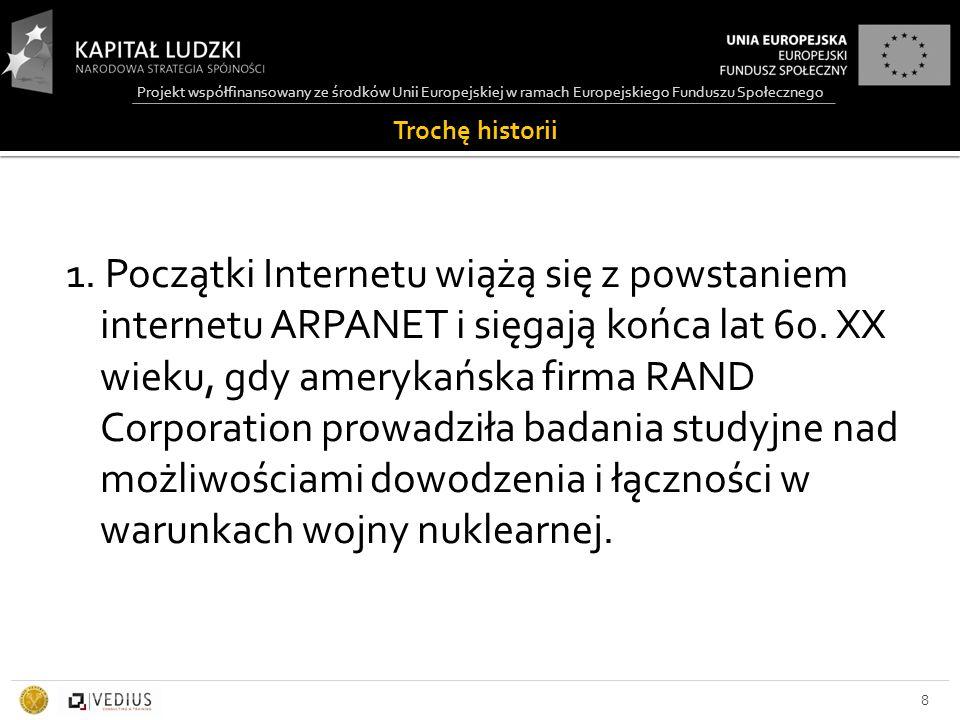 Projekt współfinansowany ze środków Unii Europejskiej w ramach Europejskiego Funduszu Społecznego Anatomia URL 89 http://login.mojserwer.pl/home/www/index.html Protokół Nazwa serwera Ścieżka dostępu i nazwa pliku