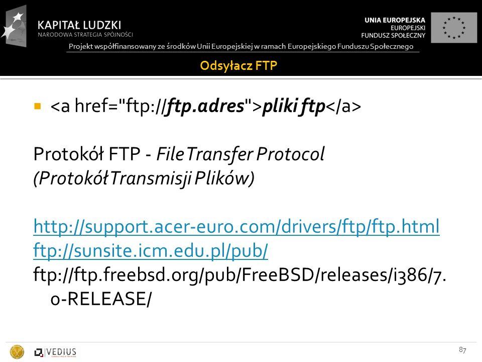 Projekt współfinansowany ze środków Unii Europejskiej w ramach Europejskiego Funduszu Społecznego Odsyłacz FTP 87  pliki ftp Protokół FTP - File Transfer Protocol (Protokół Transmisji Plików) http://support.acer-euro.com/drivers/ftp/ftp.html ftp://sunsite.icm.edu.pl/pub/ ftp://ftp.freebsd.org/pub/FreeBSD/releases/i386/7.