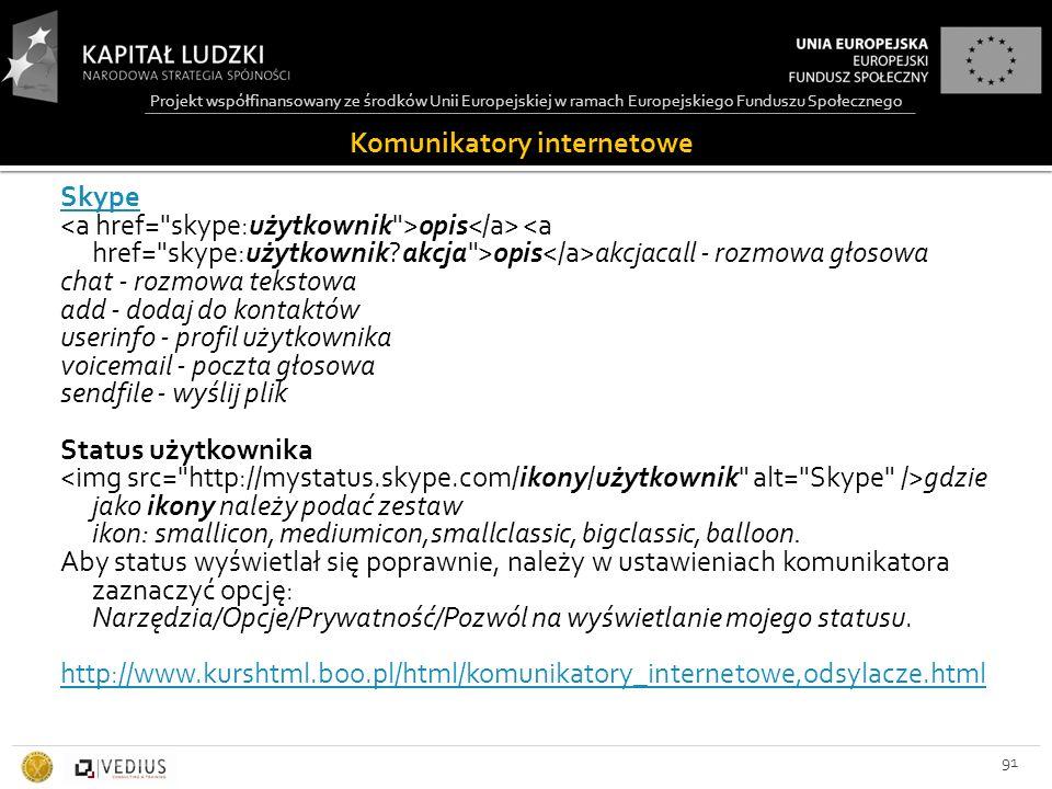 Projekt współfinansowany ze środków Unii Europejskiej w ramach Europejskiego Funduszu Społecznego Komunikatory internetowe 91 Skype opis opis akcjacall - rozmowa głosowa chat - rozmowa tekstowa add - dodaj do kontaktów userinfo - profil użytkownika voicemail - poczta głosowa sendfile - wyślij plik Status użytkownika gdzie jako ikony należy podać zestaw ikon: smallicon, mediumicon,smallclassic, bigclassic, balloon.