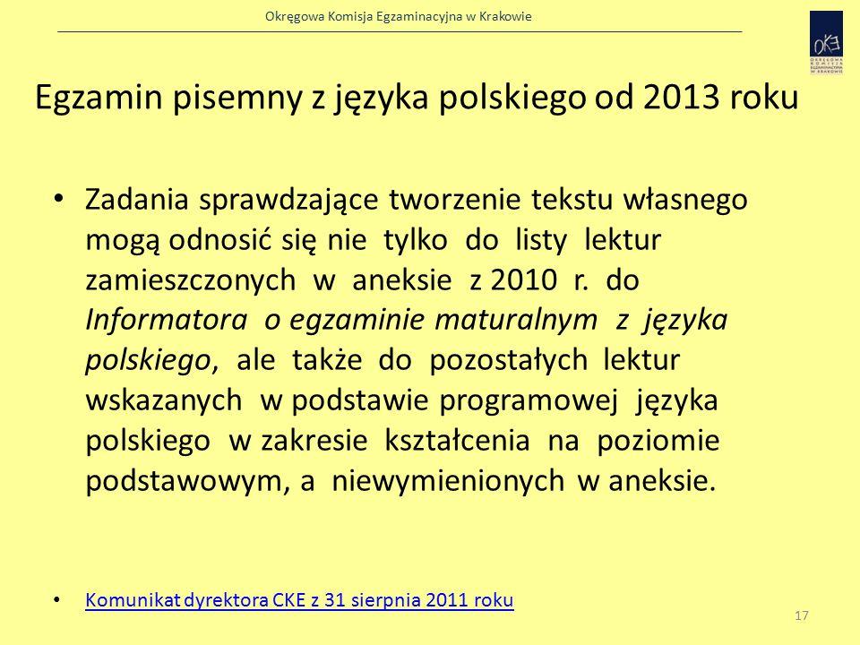 Okręgowa Komisja Egzaminacyjna w Krakowie Egzamin pisemny z języka polskiego od 2013 roku Zadania sprawdzające tworzenie tekstu własnego mogą odnosić się nie tylko do listy lektur zamieszczonych w aneksie z 2010 r.