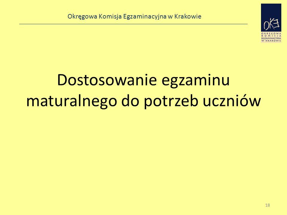 Okręgowa Komisja Egzaminacyjna w Krakowie Dostosowanie egzaminu maturalnego do potrzeb uczniów 18