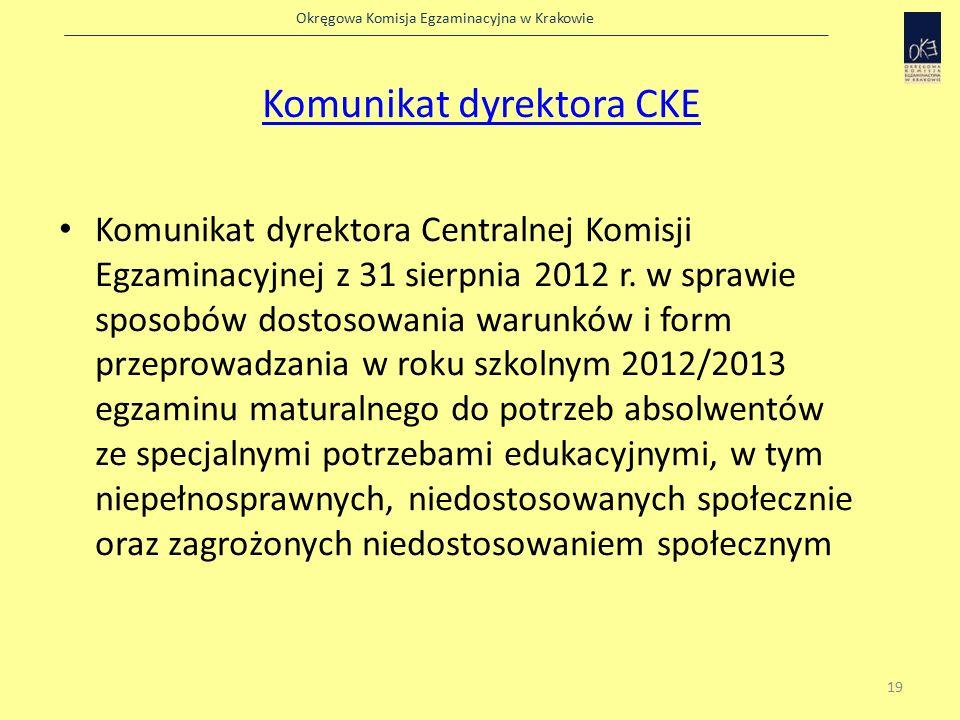 Okręgowa Komisja Egzaminacyjna w Krakowie Komunikat dyrektora CKE Komunikat dyrektora Centralnej Komisji Egzaminacyjnej z 31 sierpnia 2012 r.