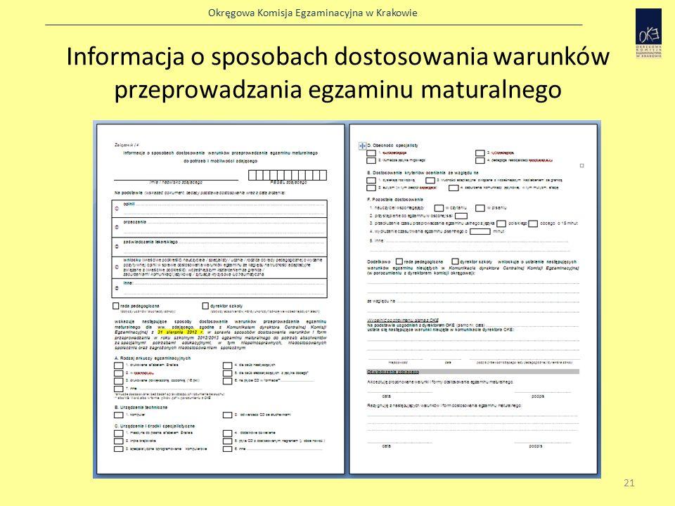 Okręgowa Komisja Egzaminacyjna w Krakowie Informacja o sposobach dostosowania warunków przeprowadzania egzaminu maturalnego 21