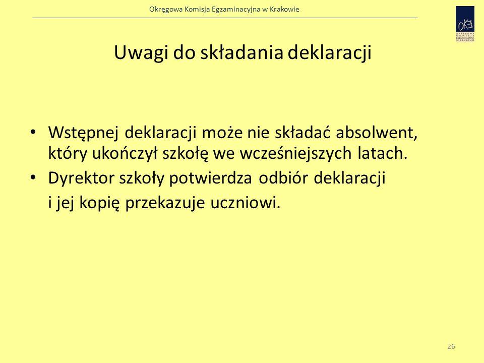 Okręgowa Komisja Egzaminacyjna w Krakowie Uwagi do składania deklaracji Wstępnej deklaracji może nie składać absolwent, który ukończył szkołę we wcześniejszych latach.