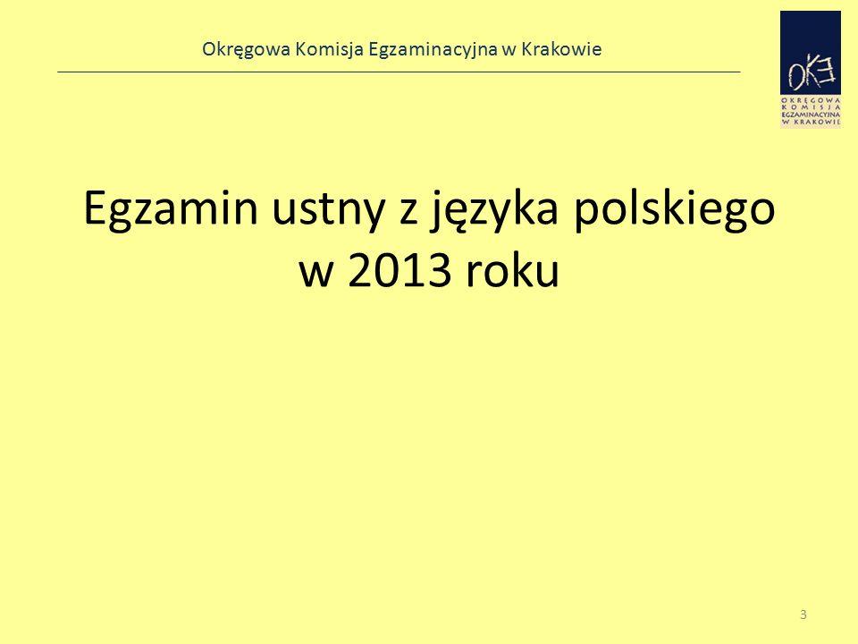 Okręgowa Komisja Egzaminacyjna w Krakowie Egzamin ustny z języka polskiego w 2013 roku 3