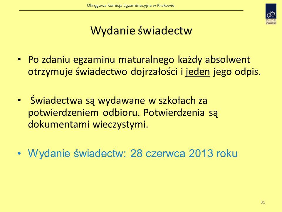 Okręgowa Komisja Egzaminacyjna w Krakowie Wydanie świadectw Po zdaniu egzaminu maturalnego każdy absolwent otrzymuje świadectwo dojrzałości i jeden jego odpis.
