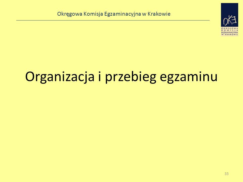 Okręgowa Komisja Egzaminacyjna w Krakowie Organizacja i przebieg egzaminu 33