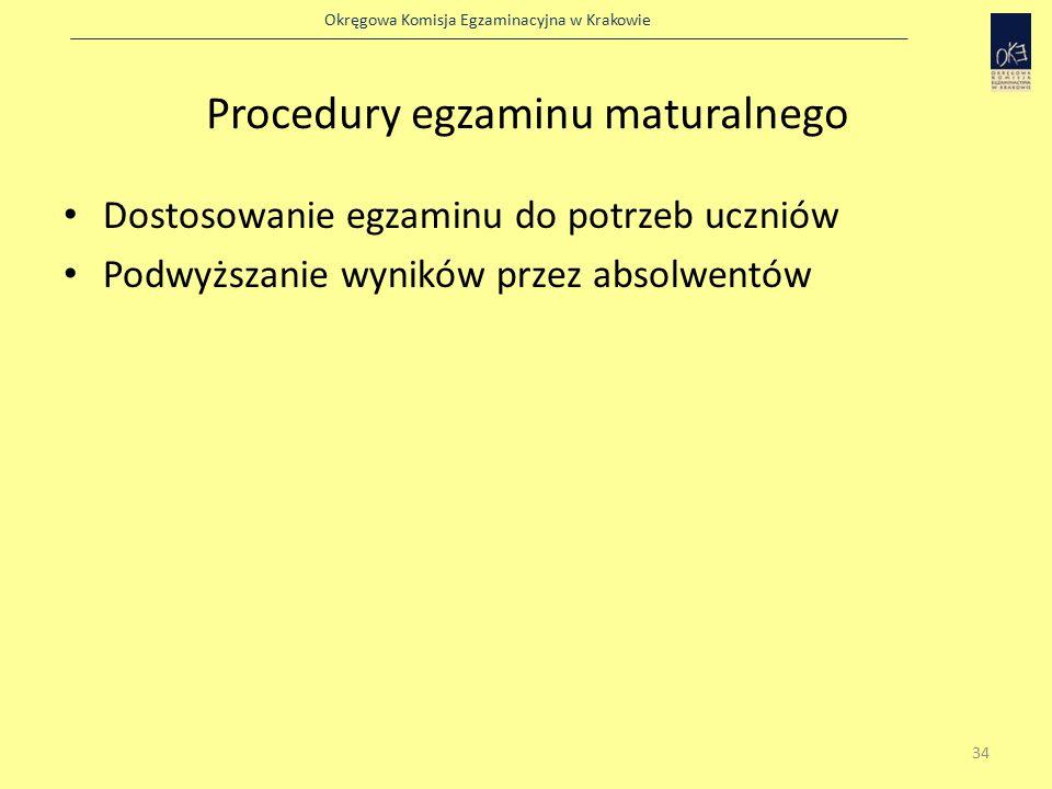 Okręgowa Komisja Egzaminacyjna w Krakowie Procedury egzaminu maturalnego Dostosowanie egzaminu do potrzeb uczniów Podwyższanie wyników przez absolwentów 34