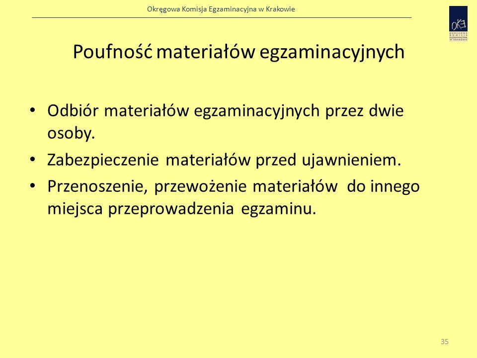 Okręgowa Komisja Egzaminacyjna w Krakowie Poufność materiałów egzaminacyjnych Odbiór materiałów egzaminacyjnych przez dwie osoby.