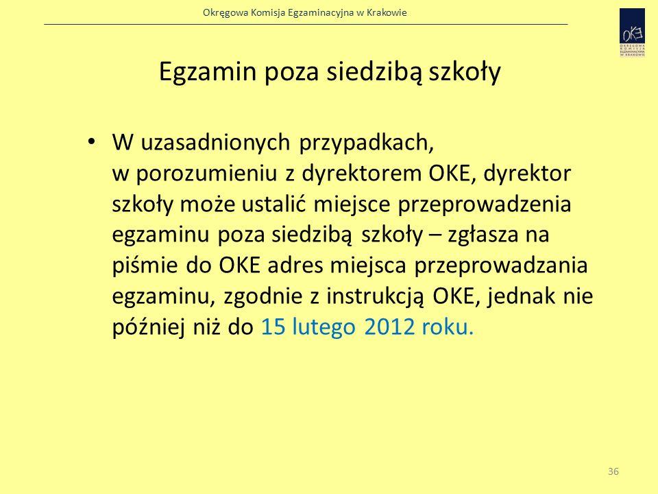 Okręgowa Komisja Egzaminacyjna w Krakowie Egzamin poza siedzibą szkoły W uzasadnionych przypadkach, w porozumieniu z dyrektorem OKE, dyrektor szkoły może ustalić miejsce przeprowadzenia egzaminu poza siedzibą szkoły – zgłasza na piśmie do OKE adres miejsca przeprowadzania egzaminu, zgodnie z instrukcją OKE, jednak nie później niż do 15 lutego 2012 roku.