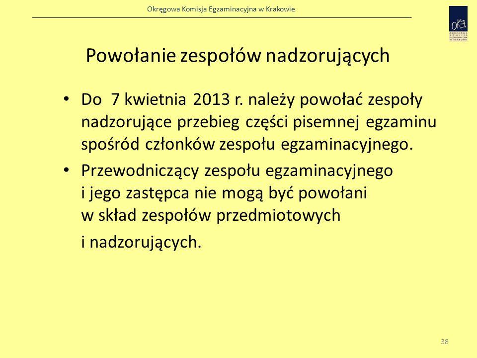 Okręgowa Komisja Egzaminacyjna w Krakowie Powołanie zespołów nadzorujących Do 7 kwietnia 2013 r.
